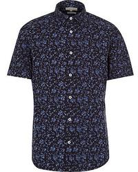 Chemise à manches courtes à fleurs bleu marine