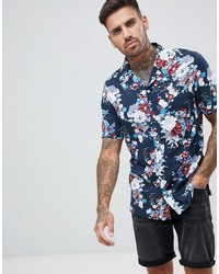 Chemise à manches courtes à fleurs bleu marine ASOS DESIGN