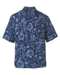 Chemise à manches courtes à fleurs bleu marine Barena