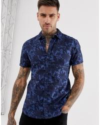 Chemise à manches courtes à fleurs bleu marine BLEND