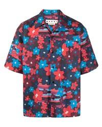 Chemise à manches courtes à fleurs bleu marine Marni