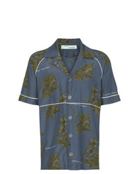 Chemise à manches courtes à fleurs bleu marine Off-White