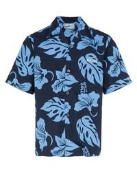 Chemise à manches courtes à fleurs bleu marine Prada