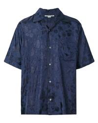 Chemise à manches courtes à fleurs bleu marine Stella McCartney