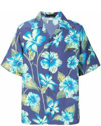 Chemise à manches courtes à fleurs bleue