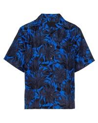 Chemise à manches courtes à fleurs bleue Prada