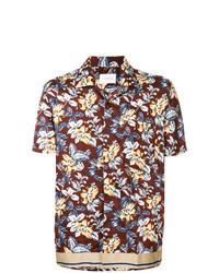 Chemise à manches courtes à fleurs bordeaux