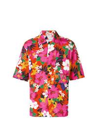 Chemise à manches courtes à fleurs fuchsia AMI Alexandre Mattiussi