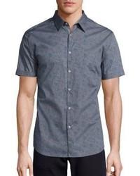 Chemise à manches courtes à fleurs gris foncé