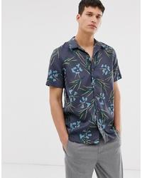 Chemise à manches courtes à fleurs gris foncé PS Paul Smith