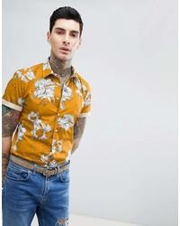 Chemise à manches courtes à fleurs jaune