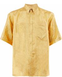 Chemise à manches courtes à fleurs jaune Gucci