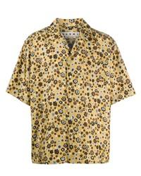 Chemise à manches courtes à fleurs jaune Marni