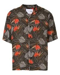 Chemise à manches courtes à fleurs marron foncé