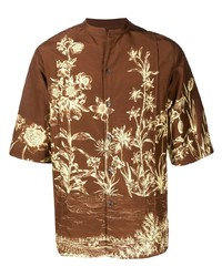 Chemise à manches courtes à fleurs marron Salvatore Ferragamo