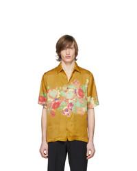 Chemise à manches courtes à fleurs moutarde