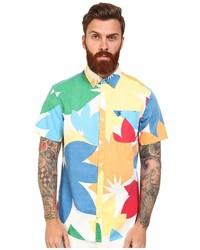 Chemise à manches courtes à fleurs multicolore