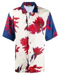 Chemise à manches courtes à fleurs multicolore Roberto Cavalli