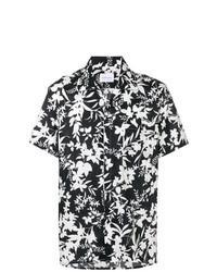 Chemise à manches courtes à fleurs noire et blanche