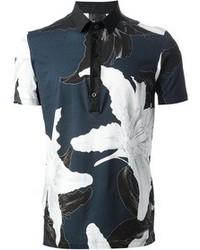 Chemise à manches courtes à fleurs noire et blanche Les Hommes