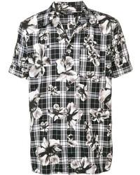 Chemise à manches courtes à fleurs noire et blanche Neil Barrett