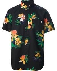 Chemise à manches courtes à fleurs noire