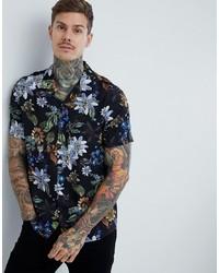 Chemise à manches courtes à fleurs noire ASOS DESIGN