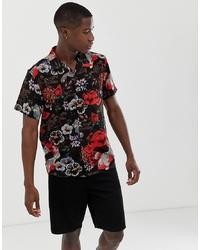 Chemise à manches courtes à fleurs noire Brave Soul