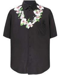 Chemise à manches courtes à fleurs noire Dolce & Gabbana