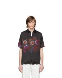 Chemise à manches courtes à fleurs noire Dries Van Noten