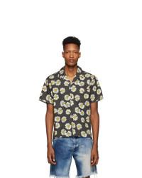 Chemise à manches courtes à fleurs noire John Elliott
