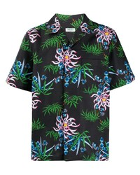 Chemise à manches courtes à fleurs noire Kenzo