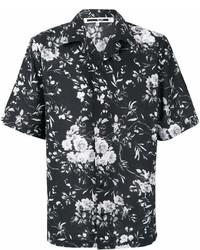 Chemise à manches courtes à fleurs noire McQ