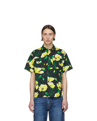Chemise à manches courtes à fleurs noire MSGM