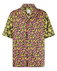 Chemise à manches courtes à fleurs noire Paul Smith