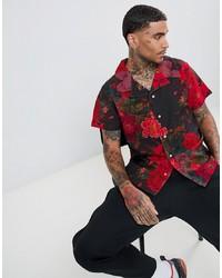 Chemise à manches courtes à fleurs noire Profound Aesthetic