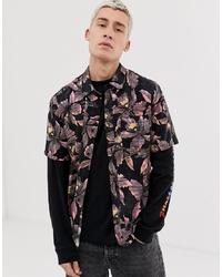 Chemise à manches courtes à fleurs noire Volcom