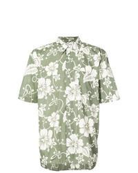 Chemise à manches courtes à fleurs olive