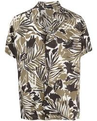 Chemise à manches courtes à fleurs olive Emporio Armani
