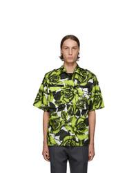 Chemise à manches courtes à fleurs olive Prada