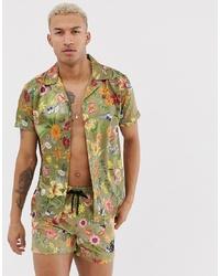 Chemise à manches courtes à fleurs olive Siksilk