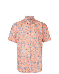 Chemise à manches courtes à fleurs orange