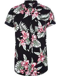 Chemise à manches courtes à fleurs