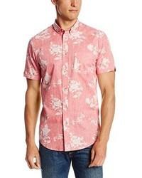 Chemise à manches courtes à fleurs rose