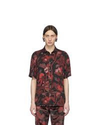 Chemise à manches courtes à fleurs rouge et noir Paul Smith