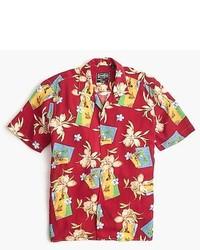 Chemise à manches courtes à fleurs rouge