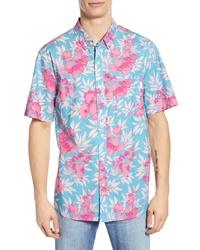Chemise à manches courtes à fleurs turquoise