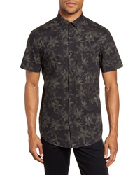 Chemise à manches courtes à fleurs vert foncé