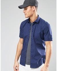 Chemise à manches courtes á pois bleu marine et blanc Esprit