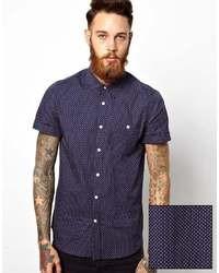 Chemise à manches courtes á pois bleu marine